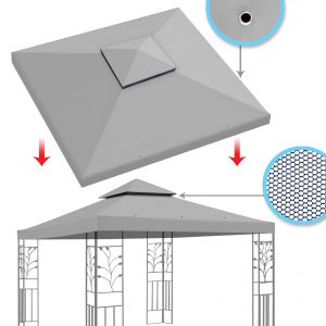 Replacement Canopy Top Cover 10x10 Gazebo (Grey) S2C