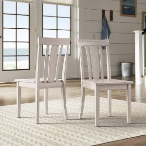 INSPIRE Q Wilmington 2 Slat Back Wood Chairs Antique White S6A