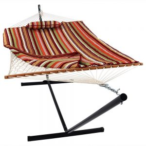 Sunnydaze Cotton Rope Hammock With 12 foot Stand Pad Pillow Included