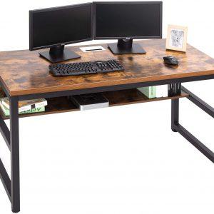 "TOPSKY 55"" Computer Desk With Book Shelf Rustic Brown"