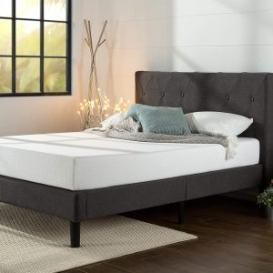 Zinus Shalini Platform Bed Frame Mattress Foundation Dark Grey,King FL6