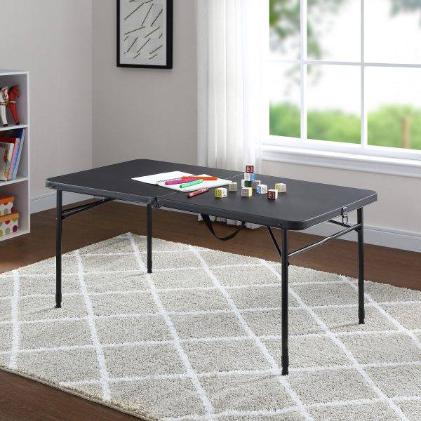 "Mainstays 48"" Fold-in-Half Table, Rich Black S6B"