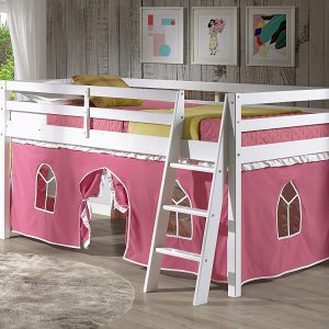 Alaterre Roxy Pine Twin Junior Loft Bed White With Pink FL4