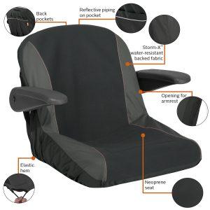 "Neoprene Paneled Tractor Seat cover 17""-19""H S3B"