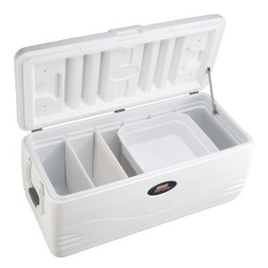 Coleman 150 Quart Heritage XP Marine Cooler, 223 Can, White 11A04