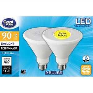 Great Value LED Light Bulb, 10W (90W Equivalent) Non-dimmable 2-Pack LOC: S4B01 MD