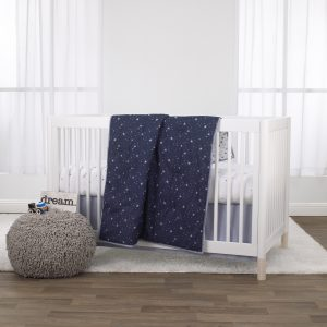 Little Love by NoJo Celestial 3 Piece Crib Bedding Set - Navy, Grey and White - Comforter, Fitted Crib Sheet and Dust Ruffle S2B