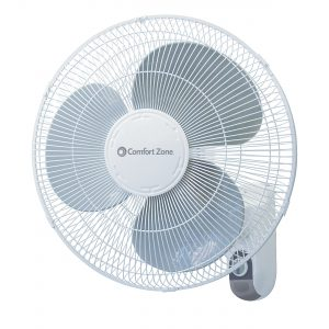 "Comfort Zone ""16 Oscillating 3 Speed Wall Mount Fan With Remote LOC:S10B01 LF"