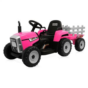 Kidzone 12V Kids Ride On Electric Tractor With Trailer W/LED Lights USB & Bluetooth PINK S8A