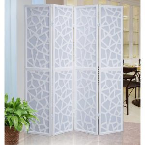 "Roundhill Furniture Giyano 4 Panel Room Divider, 70"" Tall, White S10B"