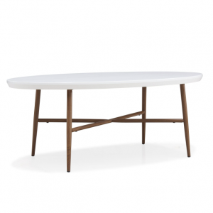 Miami White Oval Cocktail Table with Brown Metal Legs LOC: 7B03