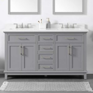 "DYLAN 60"" GRAY VANITY SINK ALL ACCESSORIES INCLUDED (FAUCETS INCLUDED)"