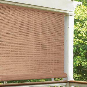 "Radiance 4' x 6' Cordless 1/4"" PVC Roll-Up Outdoor Sun Shade, Woodgrain S1C"