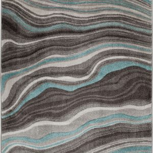 Better Homes & Gardens Gray & Aqua Waves Area Rug, Multiple Sizes (4'x5'')